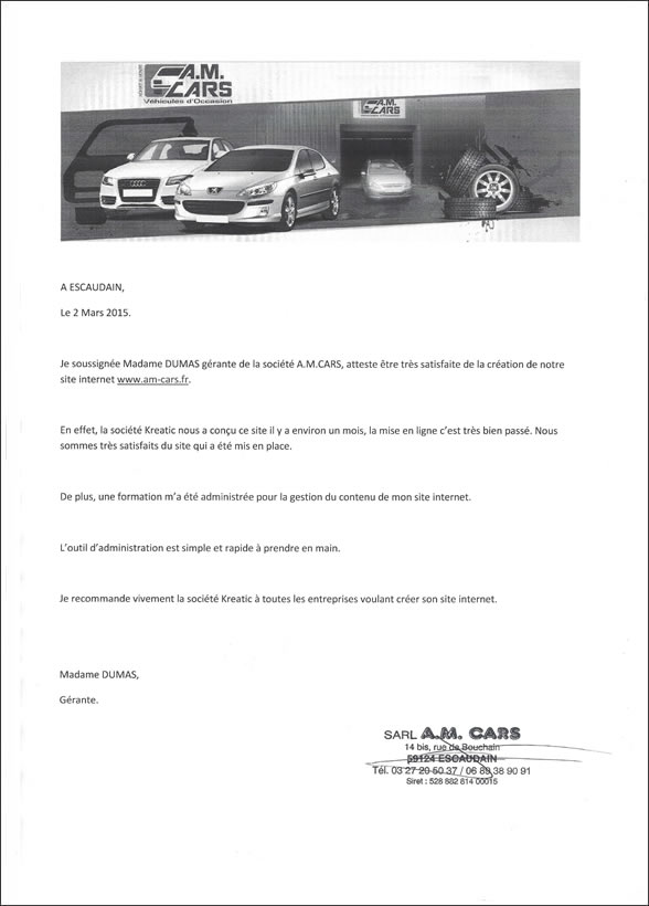 Avis client Kreatic par la société AM Cars