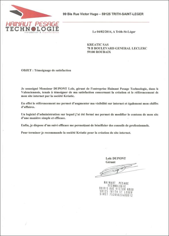 Avis client Kreatic par la société Hainaut Pesage